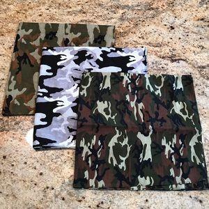 Set Of 3 Camouflage Bandanas
